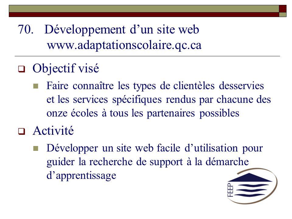 Développement d'un site web www.adaptationscolaire.qc.ca Objectif visé.