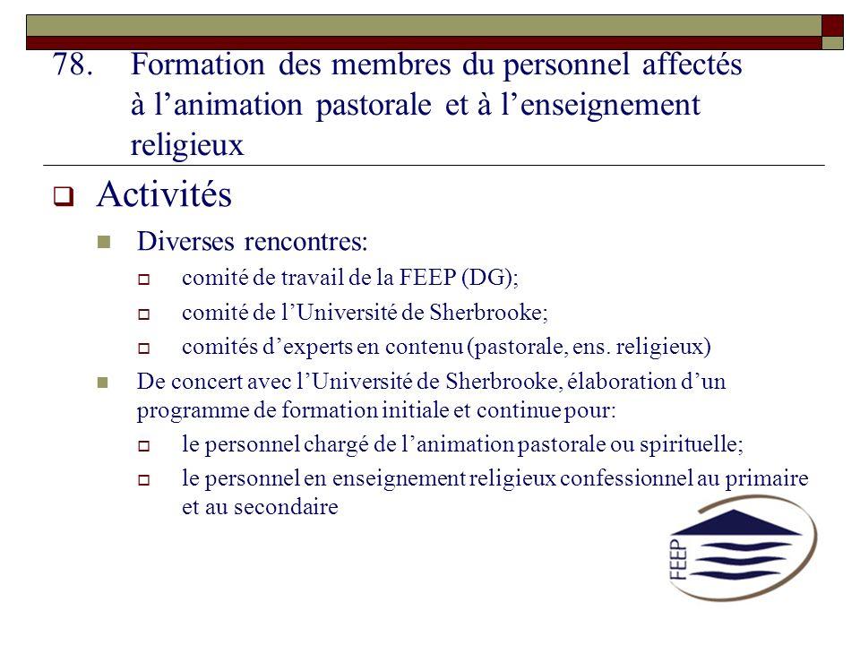 Formation des membres du personnel affectés à l'animation pastorale et à l'enseignement religieux