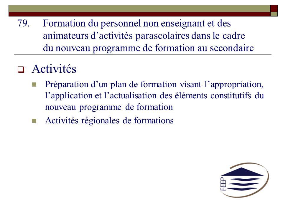 Formation du personnel non enseignant et des animateurs d'activités parascolaires dans le cadre du nouveau programme de formation au secondaire