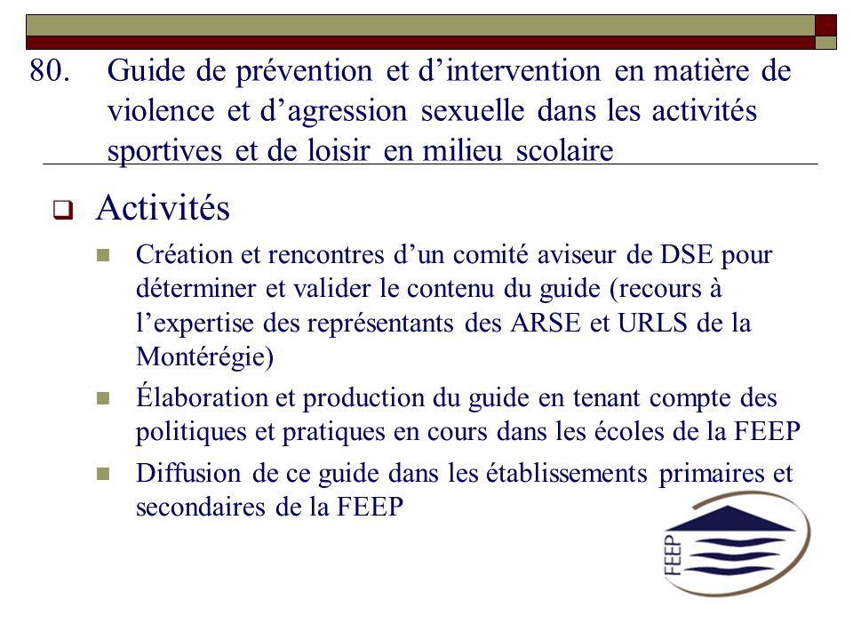 Guide de prévention et d'intervention en matière de violence et d'agression sexuelle dans les activités sportives et de loisir en milieu scolaire
