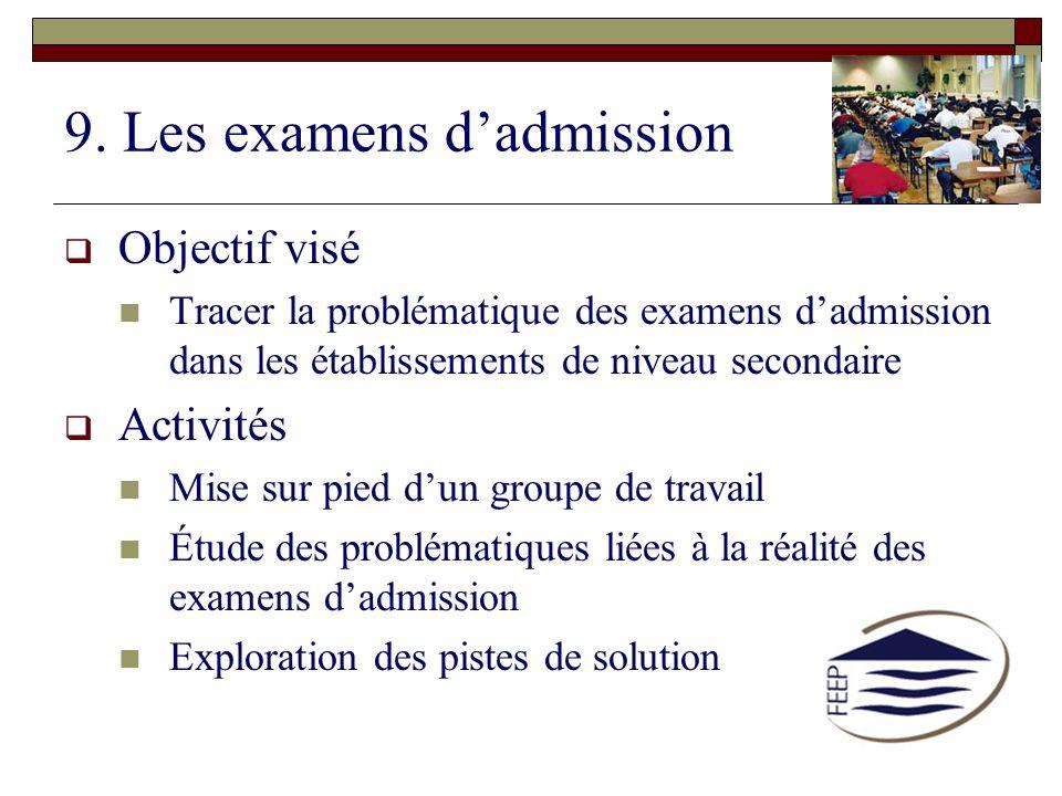 9. Les examens d'admission