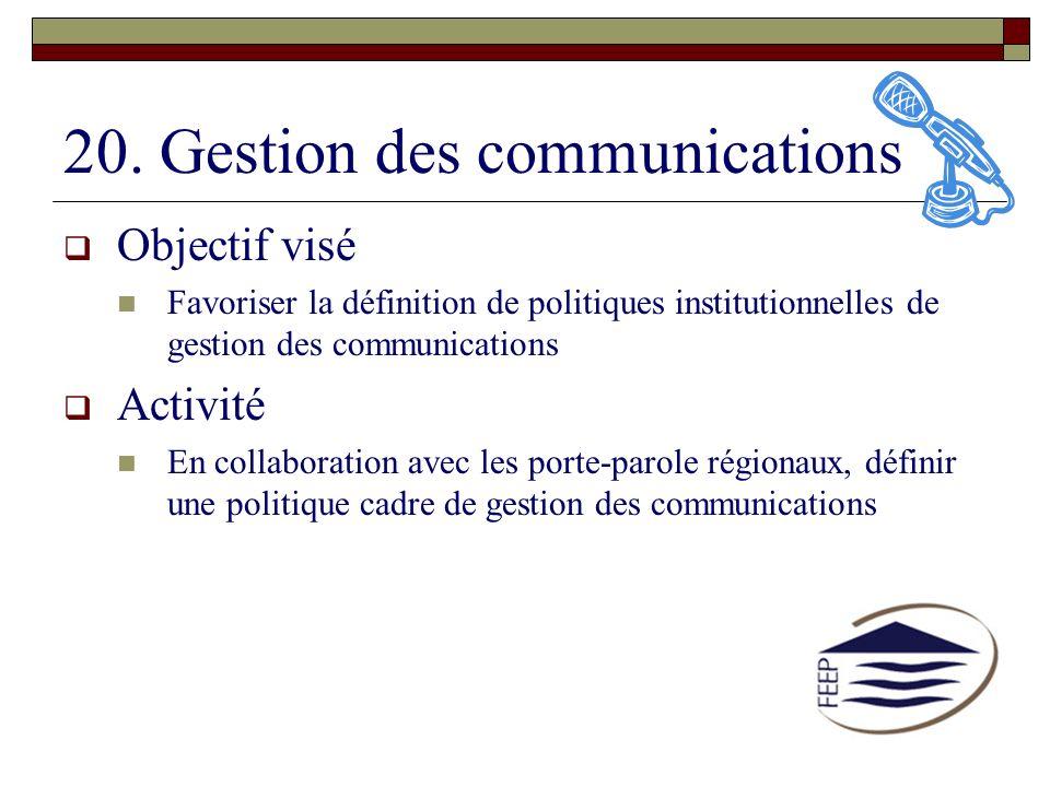 20. Gestion des communications