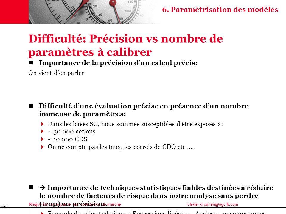 Difficulté: Précision vs nombre de paramètres à calibrer