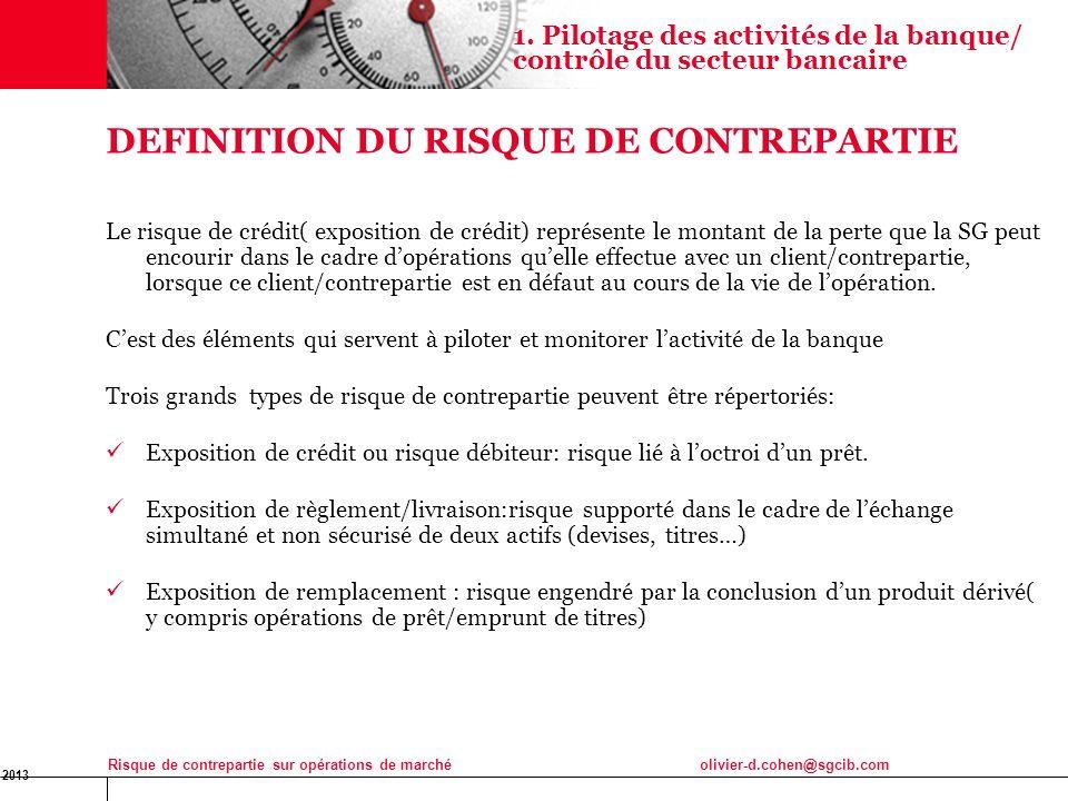 DEFINITION DU RISQUE DE CONTREPARTIE