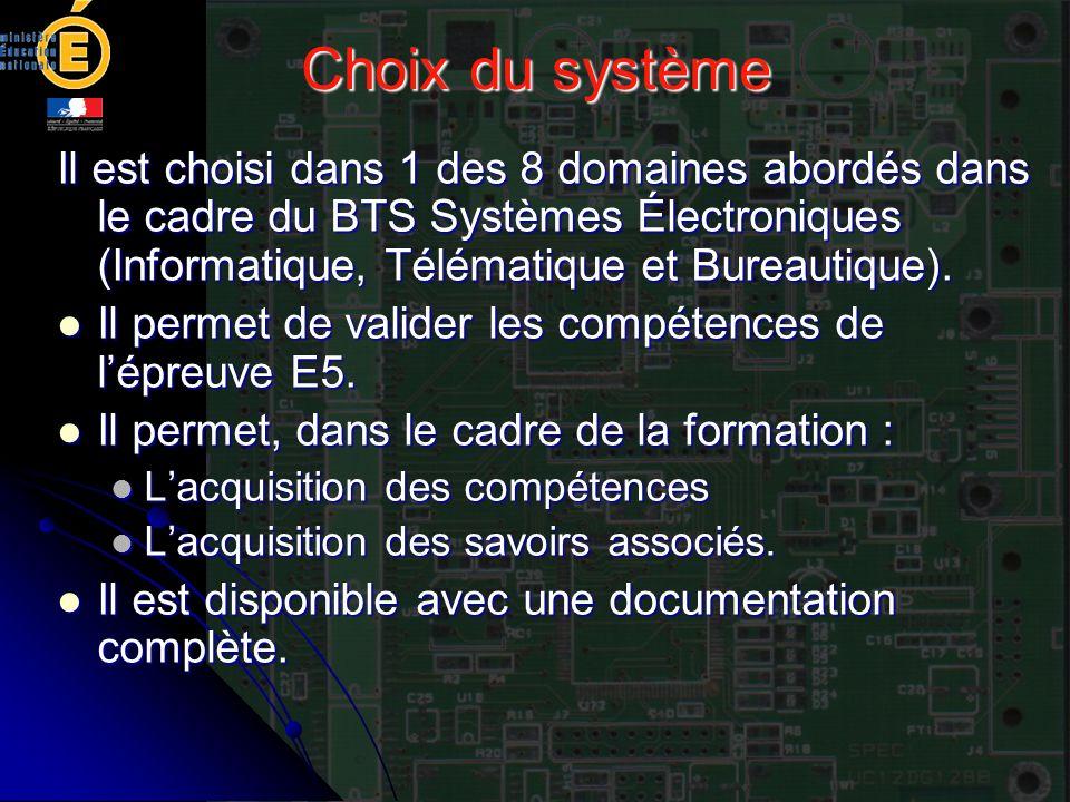 Choix du système Il est choisi dans 1 des 8 domaines abordés dans le cadre du BTS Systèmes Électroniques (Informatique, Télématique et Bureautique).
