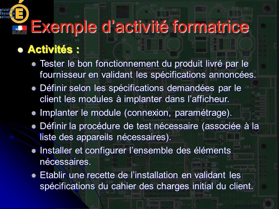 Exemple d'activité formatrice