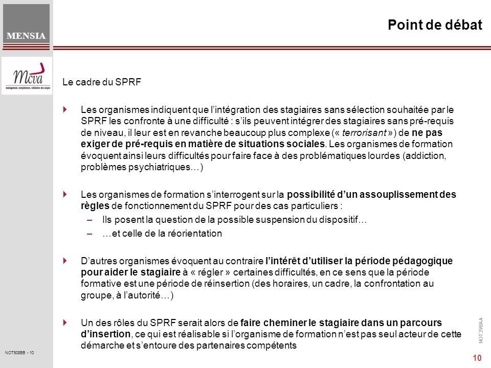 Point de débat Le cadre du SPRF