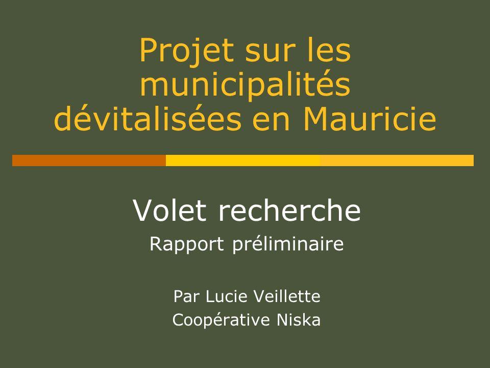Projet sur les municipalités dévitalisées en Mauricie