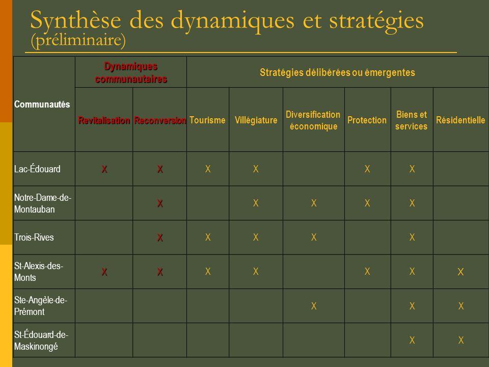 Synthèse des dynamiques et stratégies (préliminaire)