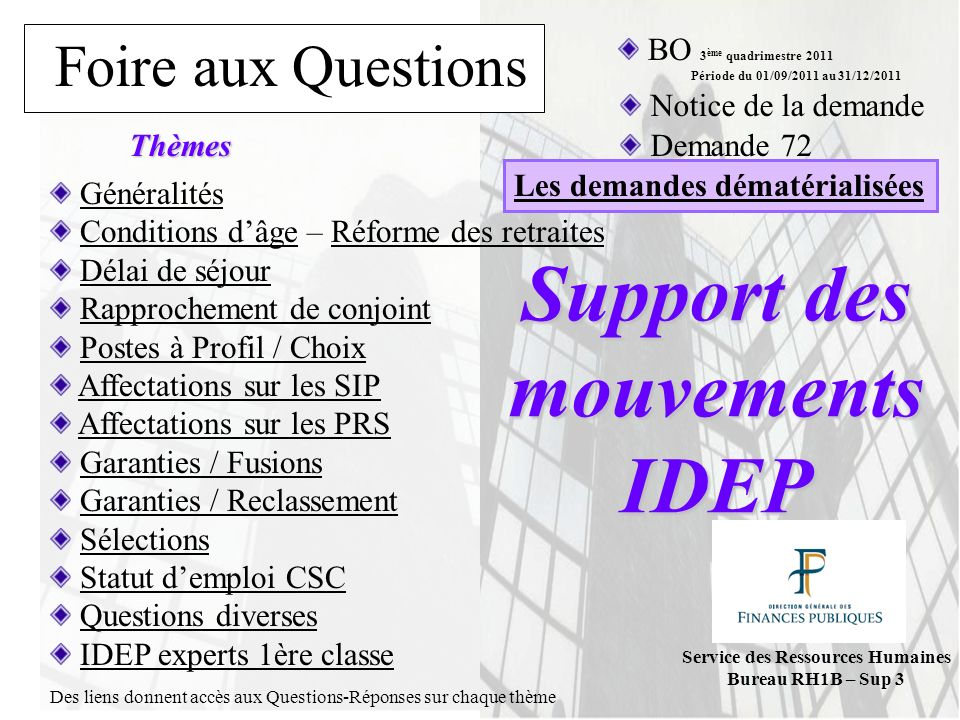 Support des mouvements IDEP