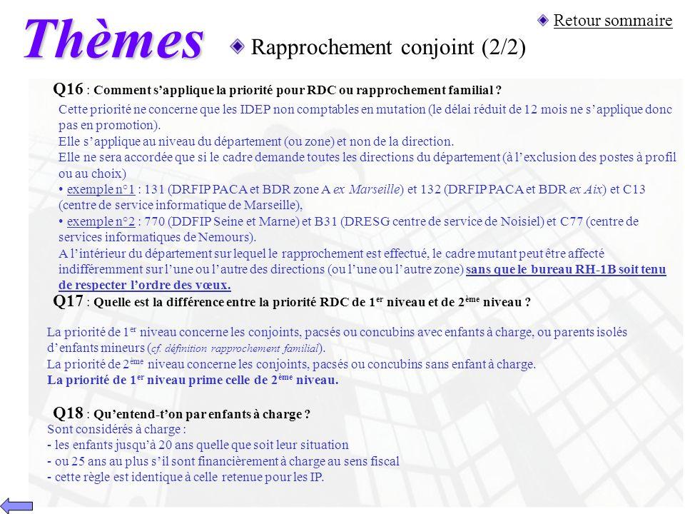 Thèmes Rapprochement conjoint (2/2) Retour sommaire