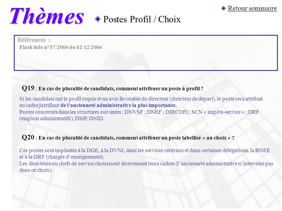 Thèmes Postes Profil / Choix Retour sommaire