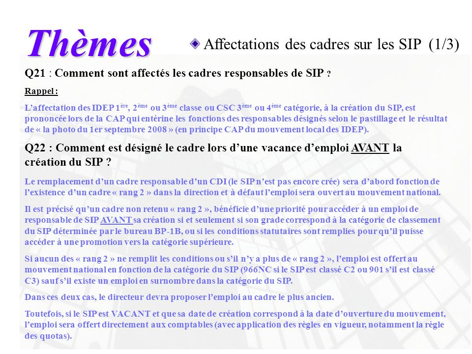 Thèmes Affectations des cadres sur les SIP (1/3)