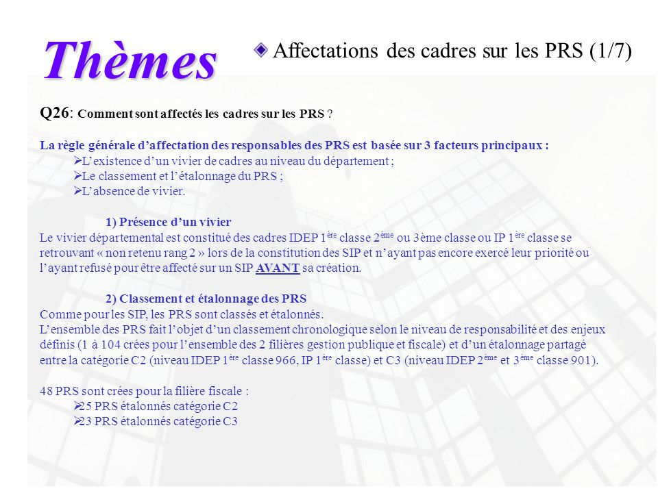 Thèmes Affectations des cadres sur les PRS (1/7)