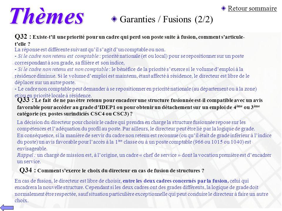 Thèmes Garanties / Fusions (2/2) Retour sommaire
