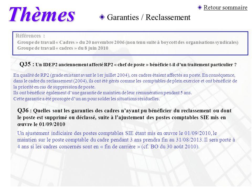 Thèmes Garanties / Reclassement Retour sommaire
