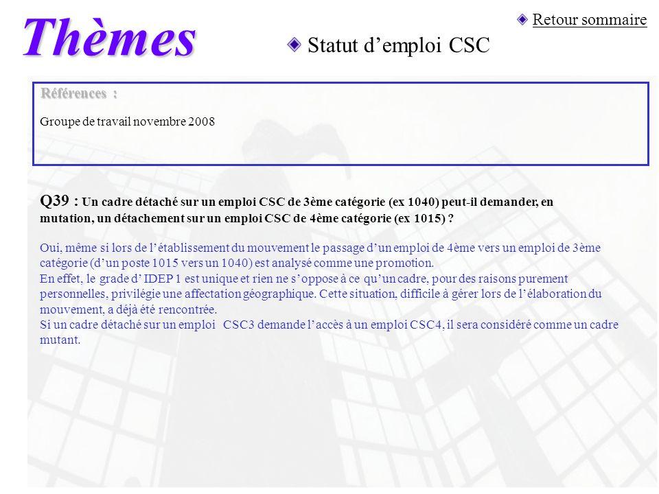 Thèmes Statut d'emploi CSC Retour sommaire