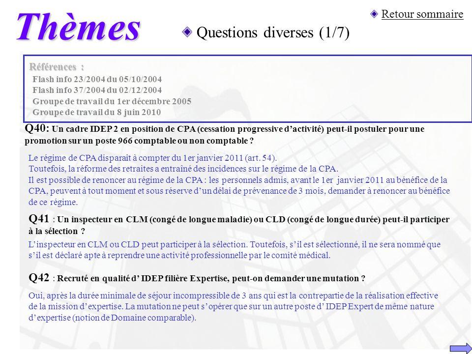Thèmes Questions diverses (1/7) Retour sommaire