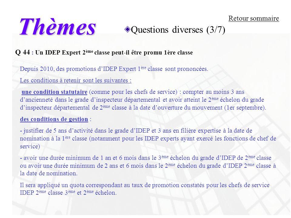 Thèmes Questions diverses (3/7) Retour sommaire
