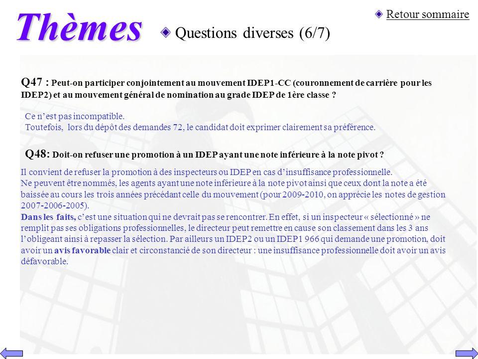 Thèmes Questions diverses (6/7) Retour sommaire