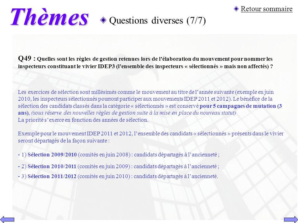 Thèmes Questions diverses (7/7) Retour sommaire