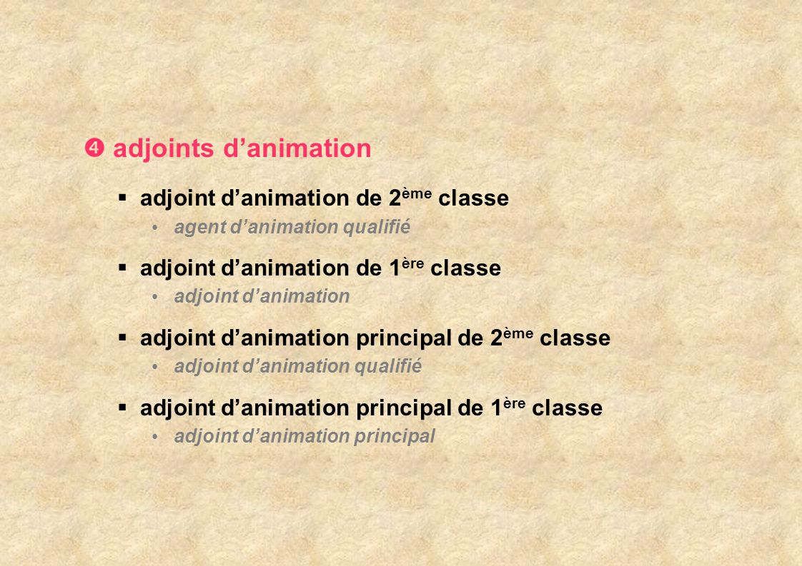 adjoints d'animation adjoint d'animation de 2ème classe