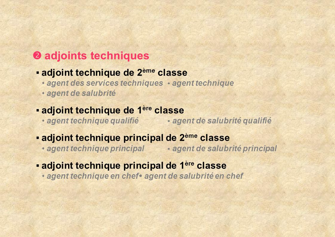  adjoints techniques adjoint technique de 2ème classe
