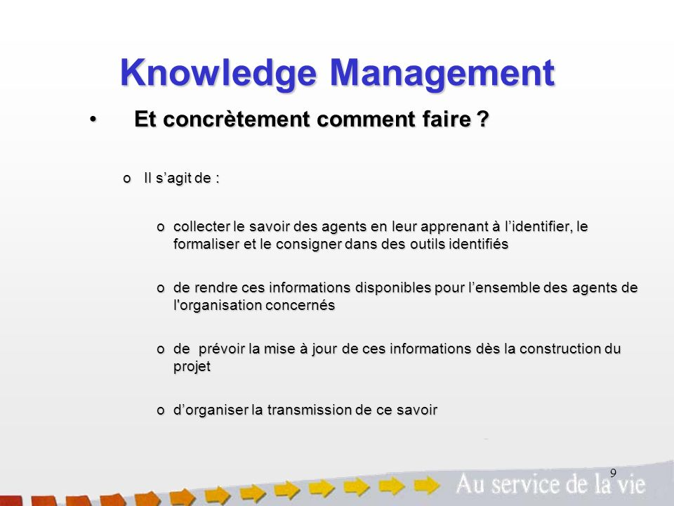Knowledge Management Et concrètement comment faire Il s'agit de :