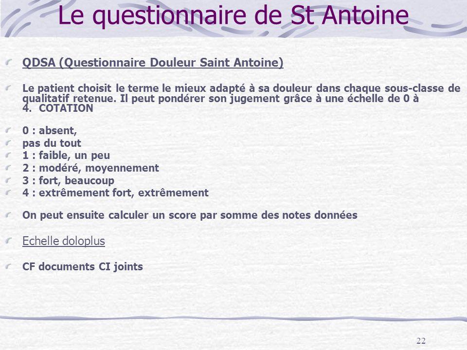 Le questionnaire de St Antoine