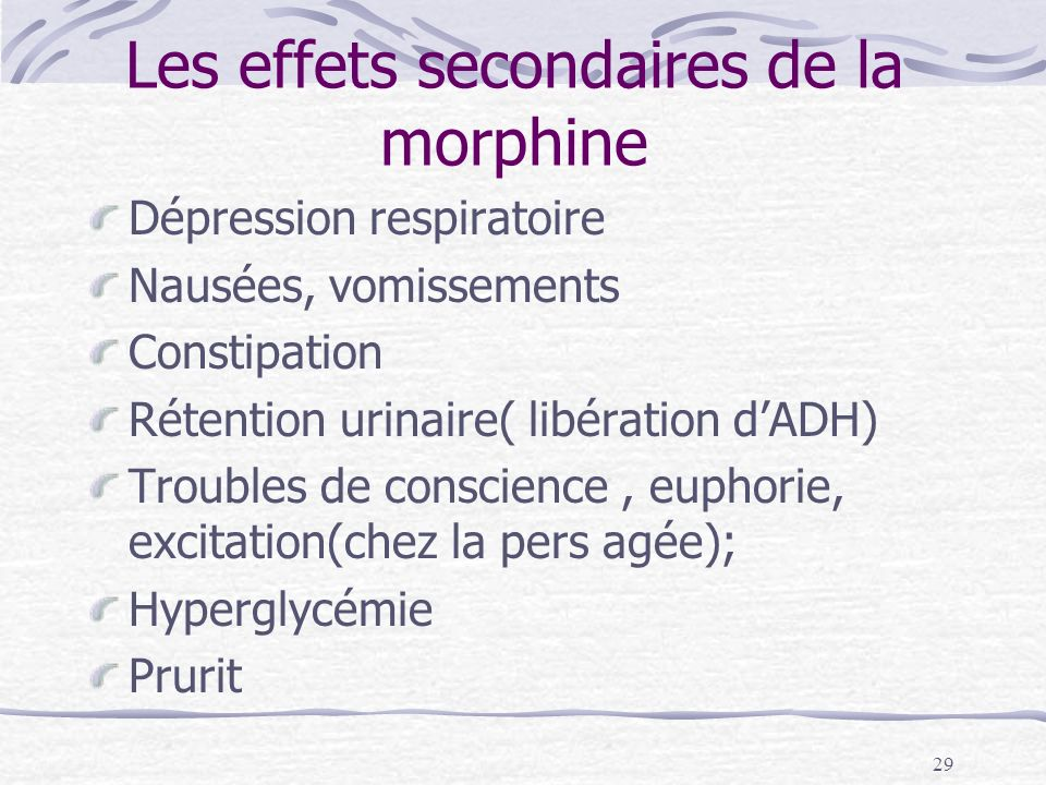 Les effets secondaires de la morphine