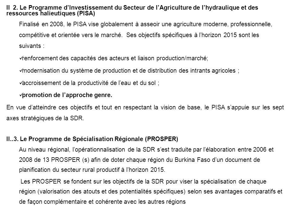 II 2. Le Programme d'Investissement du Secteur de l'Agriculture de l'hydraulique et des ressources halieutiques (PISA)