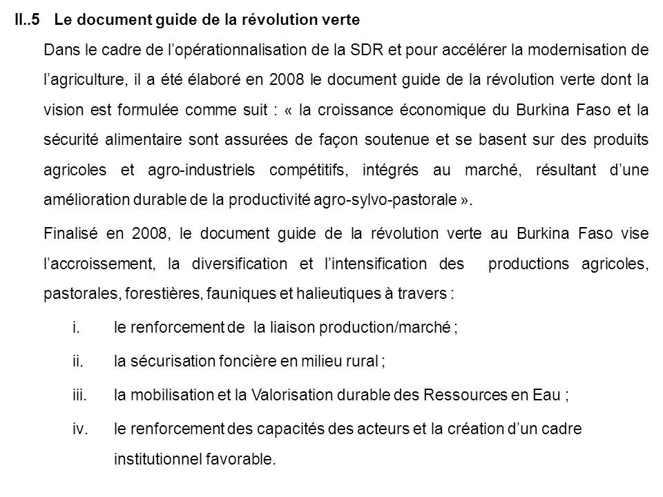 II..5 Le document guide de la révolution verte