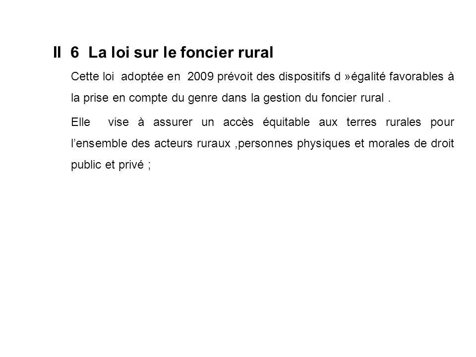 II 6 La loi sur le foncier rural