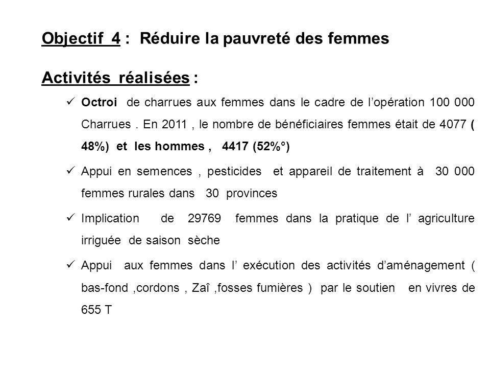 Objectif 4 : Réduire la pauvreté des femmes Activités réalisées :