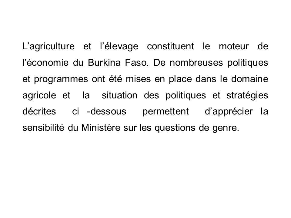L'agriculture et l'élevage constituent le moteur de l'économie du Burkina Faso.