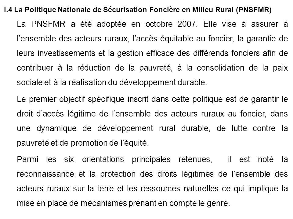 I.4 La Politique Nationale de Sécurisation Foncière en Milieu Rural (PNSFMR)