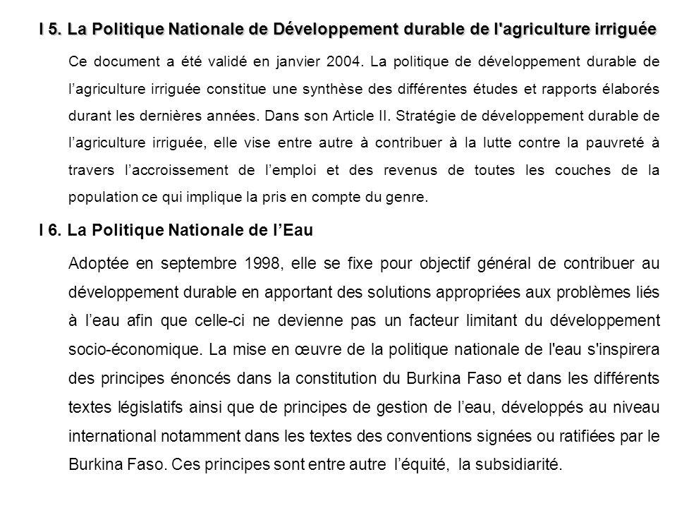 I 6. La Politique Nationale de l'Eau