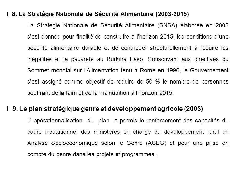 I 9. Le plan stratégique genre et développement agricole (2005)