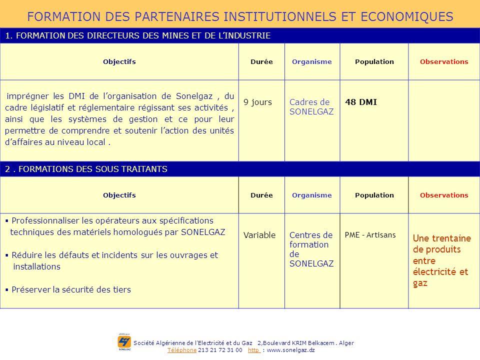 FORMATION DES PARTENAIRES INSTITUTIONNELS ET ECONOMIQUES
