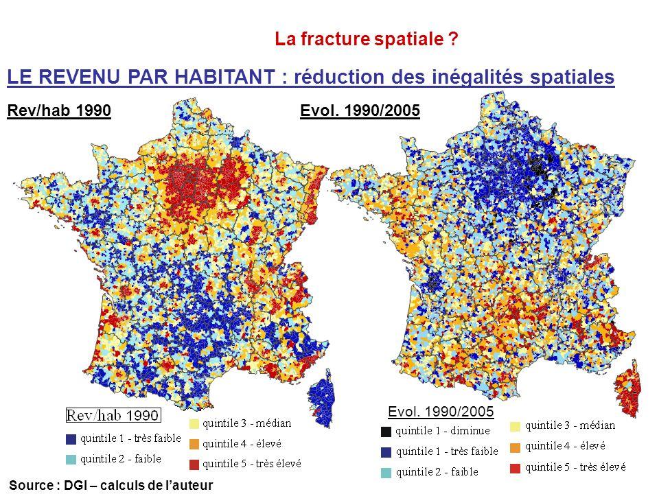 LE REVENU PAR HABITANT : réduction des inégalités spatiales