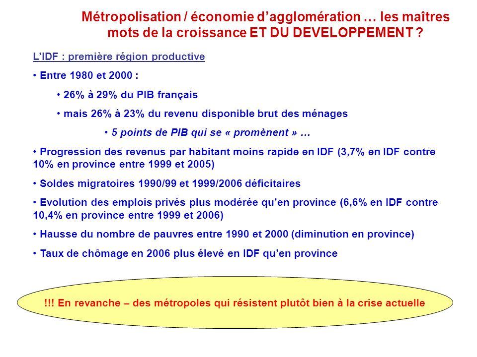 Métropolisation / économie d'agglomération … les maîtres mots de la croissance ET DU DEVELOPPEMENT