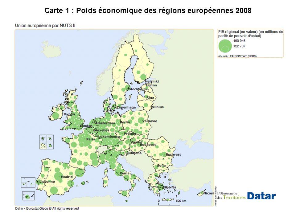 Carte 1 : Poids économique des régions européennes 2008