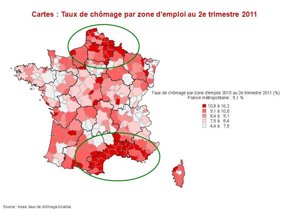 Cartes : Taux de chômage par zone d emploi au 2e trimestre 2011