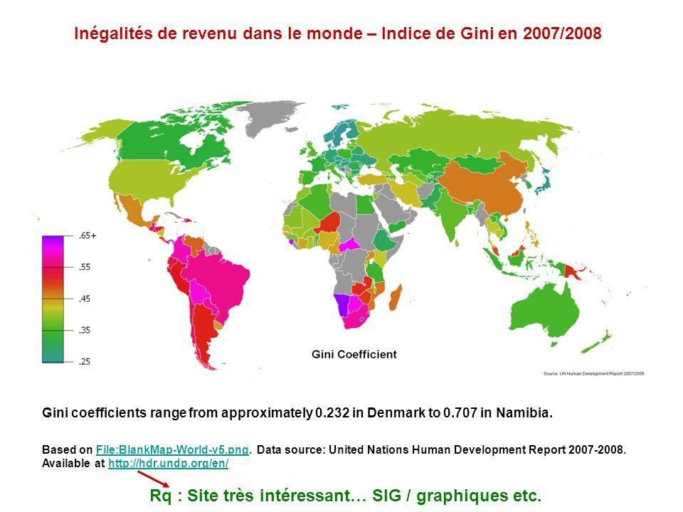 Inégalités de revenu dans le monde – Indice de Gini en 2007/2008