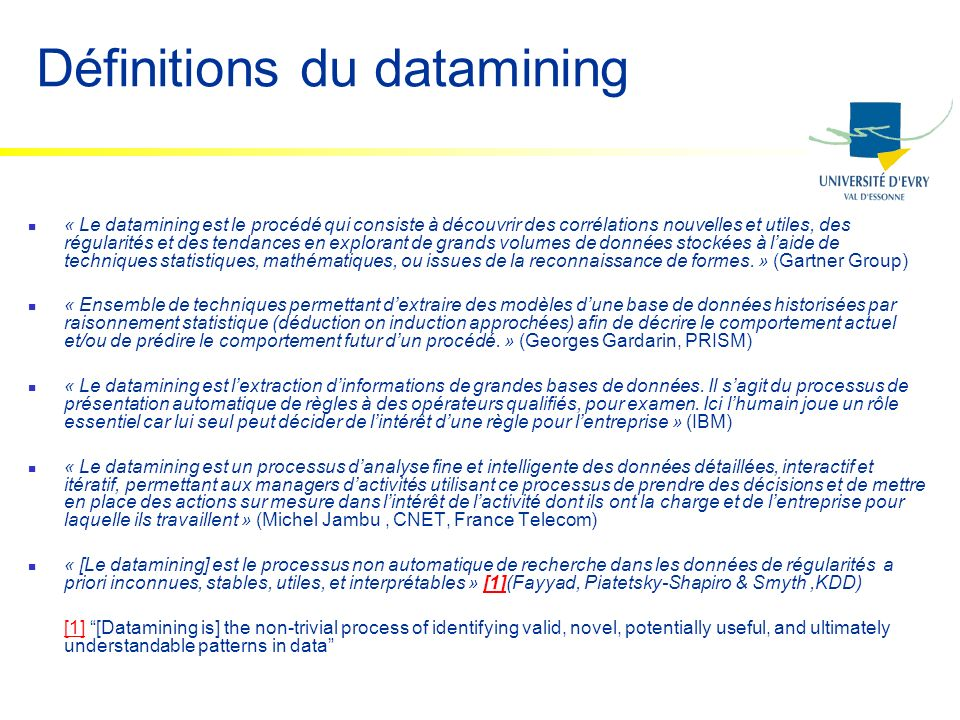 Définitions du datamining