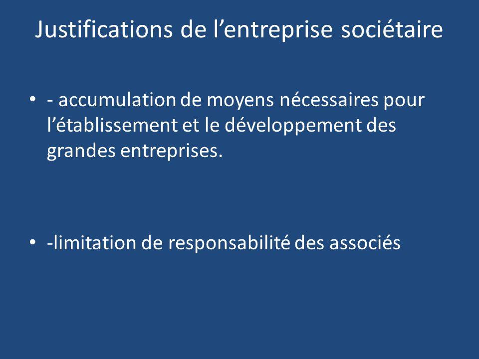 Justifications de l'entreprise sociétaire