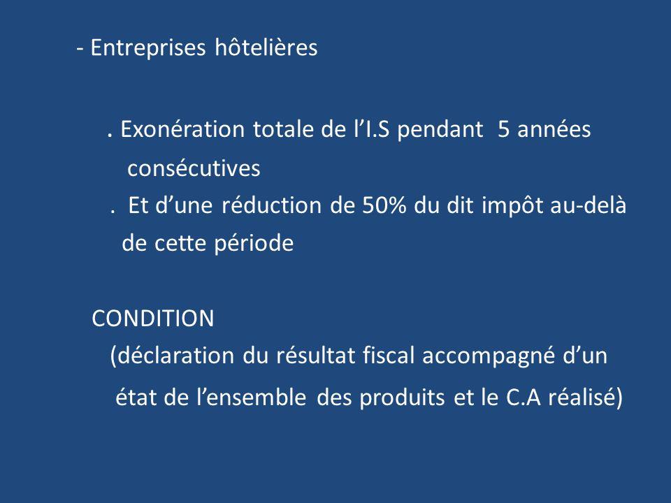 - Entreprises hôtelières