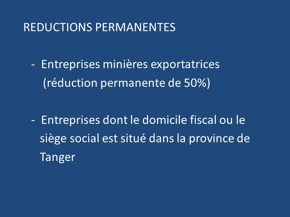 REDUCTIONS PERMANENTES
