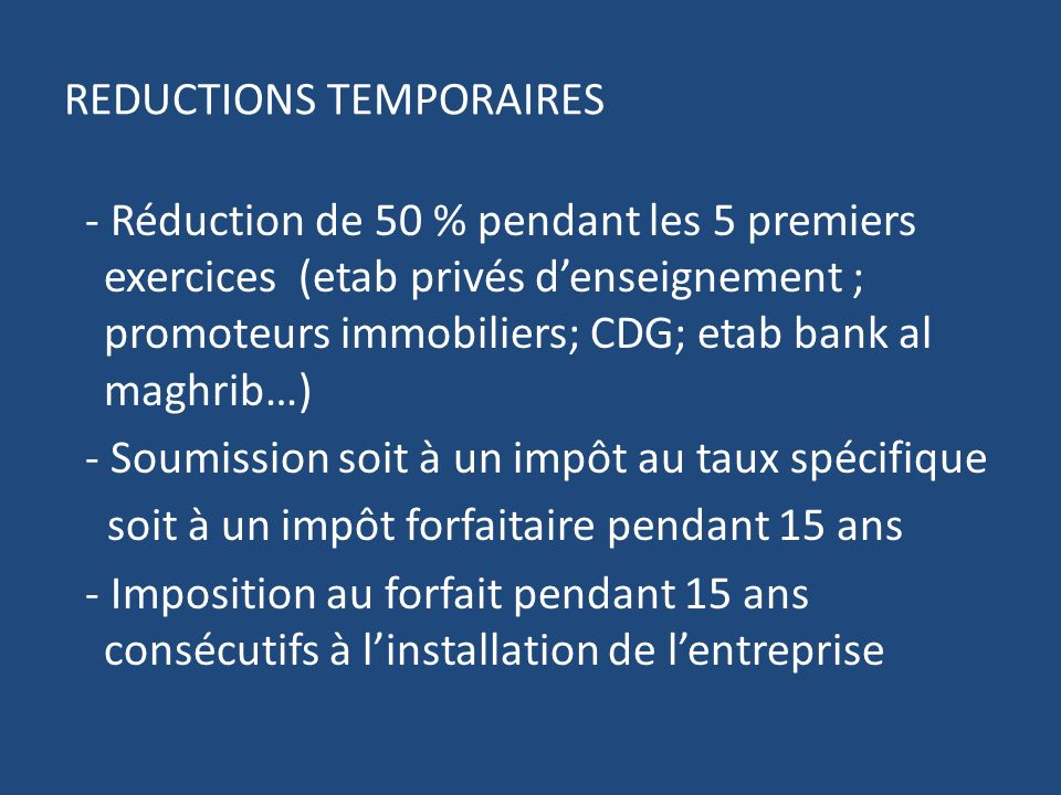 REDUCTIONS TEMPORAIRES