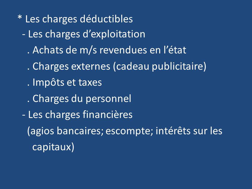 * Les charges déductibles